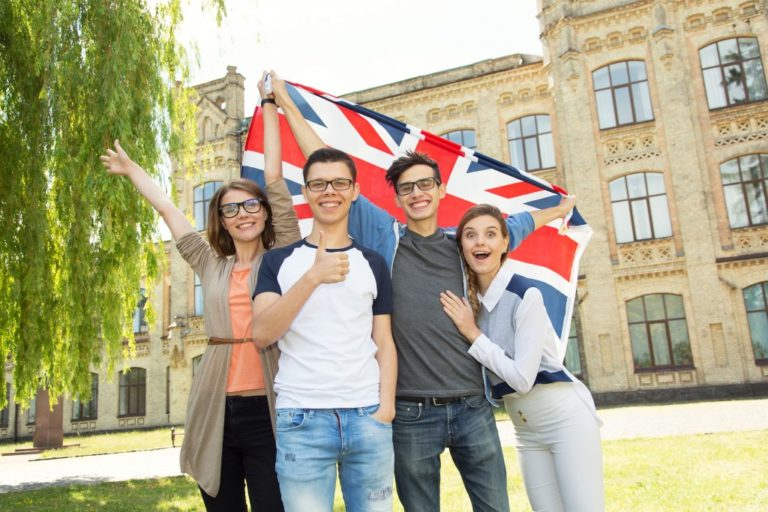students with the UK flag